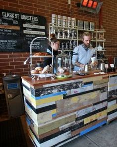 Recycled materials for coffee bar