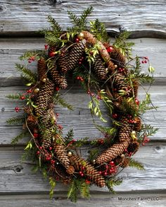 Oval Pinecone wreath. Monches Farm, LLC