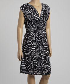 Look what I found on #zulily! Black & White Wave Ruched Cap-Sleeve Dress - Plus #zulilyfinds