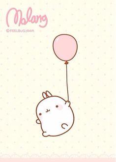 Molang rides his pink balloon --- Winnie The Pooh, Eat you heart out! Chibi Kawaii, Kawaii Bunny, Kawaii Doodles, Cute Chibi, Kawaii Cute, Kawaii Anime, Japanese Characters, Cute Characters, Kawaii Drawings