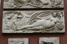Plaster cast of a relief by Monsieur Desachy about 1864 depicting one of nine water nymphs and putti. The original was made by Jean Goujon in Paris, originally part of the Fontaine des Innocents, Paris. Plaster Cast, Water Nymphs, The V&a, Victoria And Albert Museum, Printmaking, Art Decor, Medieval, Sculptures, It Cast
