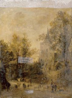 "Oil painting from the Fine Art collection. ""Nutfield Village"" by Thomas Whittle, showing a view of a church with a spire seen through trees. Cows and sheep are being herded by a farmer and child in the foreground."