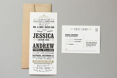 Jessica + Andrew's Vintage-Inspired Typography Wedding Invitations | Design and Photo Credits: Megan Wright Design Co.