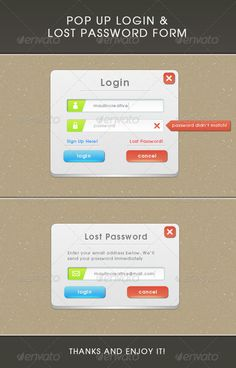 Popup #Login and Lost Password #Form