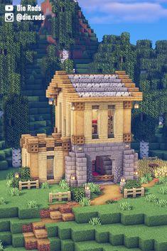 Casa Medieval Minecraft, Minecraft House Plans, Minecraft Farm, Minecraft Cottage, Easy Minecraft Houses, Minecraft House Designs, Minecraft Decorations, Minecraft Survival, Minecraft Construction