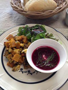 Beet soup & pumpkin salad.