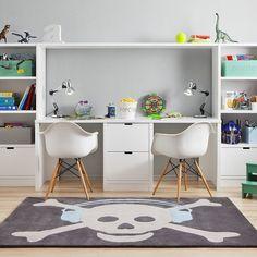 Double desk & hutch