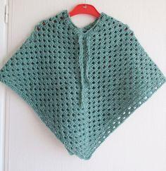 Poncho for child crochet soft green by YLIQA on Etsy