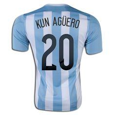 Sergio Aguero 20 2015 Copa America Argentina Home Soccer Jersey