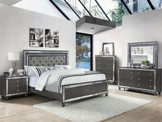 4 pc Refina metallic wood finish wood queen bedroom set with led accents. This set includes the Bed, Nightstand, Dresser and mirror. Bed measures x x H. Queen Bedroom, Bedroom Sets, Bedroom Inspo, Mirrored Bedroom Furniture, Urban Furniture, Luxury Furniture, Bed With Led Lights, Queen Headboard, Light Headboard