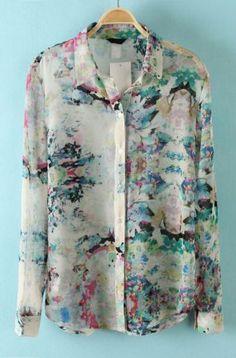 White Lapel Long Sleeve Floral Chiffon Blouse #needspringvisions