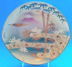 "Mount Fuji Plate 24 K Gold Hand Painted 9"" Porcelain Gilded Moriage Bonding Tree"