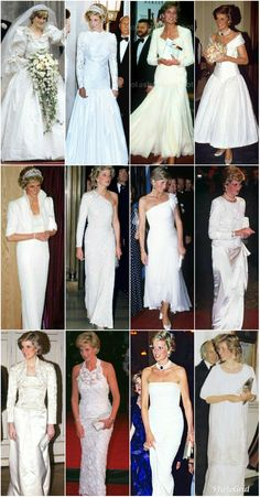 Beautiful Princess ❤️ Diana 💟 in her amazing white gowns