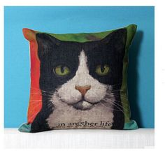 Cute cat throw pillow for couch animal linen pillow