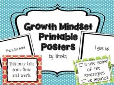 Includes 24 posters that support a growth mindset (12 black-and-white posters reflect a fixed mindset & 12 colorful posters reflect a growth mindset) and MORE! TpT: lilmaks https://www.teacherspayteachers.com/Product/Growth-Mindset-Printable-Posters-1414192