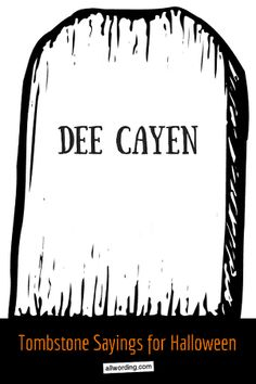 A hauntingly huge collection of Halloween tombstone sayings. These epitaphs range from humorous to spooky, but they all add up to Halloween fun. Halloween Yard Art, Halloween Outside, Halloween Graveyard, Halloween Tombstones, Outdoor Halloween, Halloween Projects, Holidays Halloween, Scary Halloween, Halloween Ideas