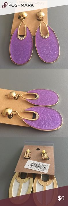 """OVAL SHAPE POLY RHINESTONES CLIP ONS 1""""x 2"""",Gold Plated Alloy Jewelry Earrings"""