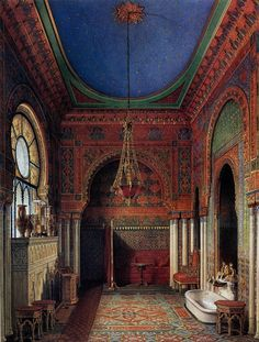 Bathroom. The Suite of Empress Alexandra Feodorovna at the Winter Palace in Saint Petersburg. Depicted in gouache by court painters c. 1850