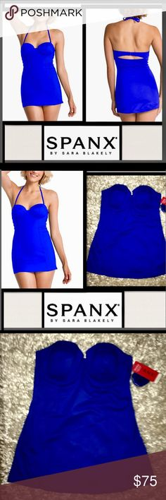"🦋SPANX Sara Blakely Dresskini Top Electric Blue SPANX Sara Blakely Princess seams structure the long silhouette of this glamorous swim top, while feminine demi padding highlights your décolletage.Count on underwire and a removable halter strap for supportive, confidence-boosting wear.""Slightly padded cups with underwire,Detachable, adjustable shoulder straps,Back hook-and-loop closure,Style: 2645,70% nylon, Hand wash cold 🍒SOLD OUT🍒Fruit ELECTRIC BLUE Matching Bottoms 🍒LISTED…"