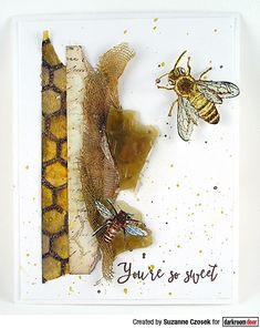 Card by Suzanne Czosek using Darkroom Door Honeycomb Background Stamp and Buzzing Bees Stamp Set Buzz Bee, Mini Mason Jars, Bee Honeycomb, Bee Cards, Distress Oxide Ink, Flower Stamp, Card Making, Bees, Pure Products