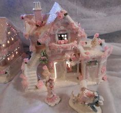 shabby pink victorian christmas   shabby pink victorian christmas village house chic roses glitter