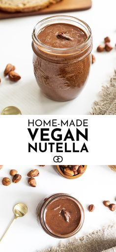 This homemade vegan Nutella is so simple to make and it's delicious! It has less than half the calories of the real deal and it's full of vitamins and healthy fats! Dairy Free Recipes, Vegan Recipes, Cooking Recipes, Gluten Free, Healthy Nutella Recipes, Healthier Desserts, Vegan Sweets, Vegan Food, 4 Ingredients