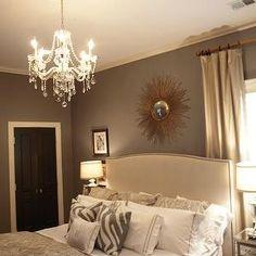 Grey bedroom, glossy black door....black door looks classy and would love a chandelier or ceiling fan...S