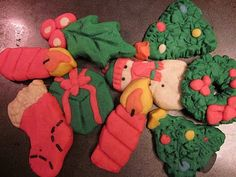 """Recipe for """"Play Dough Cookies"""" (real edible cookies) - fun!  Heat oven to 375 degrees.  Mix 1/2 cup soft butter, 1/2 cup shortening, 1 cup confectioner sugar, 1 egg, and 1 - 1/2 tsp. Almond Extract and 1 tsp. Vanilla Extract.  Blend in 2 - 1/2 cups flour, 1/2 cup sugar and 1 tsp. salt.  Divide dough and color as desired ...mostly red and green food coloring."""