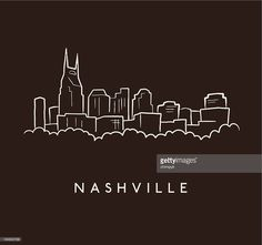 A sketch of the Nashville skyline on a brown background with text. Nashville Tattoo, Nashville Art, Nashville Skyline, Nashville Tennessee, Skyline Tattoo, Skyline Art, Girl Leg Tattoos, Bullet Journal Travel, Skyline Silhouette