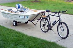 Bike boat trailer in use :: Bike boat trailer in use. Wheelbarrow Wheels, Bike Cart, Pedal Boat, Trailer Diy, Buy A Boat, Kayak Accessories, Cargo Bike, Boat Stuff, Dinghy