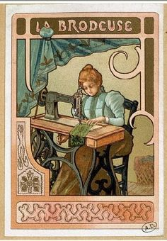 Vintage seamstress and sewing machine Art Nouveau Vintage Labels, Vintage Cards, Vintage Postcards, Vintage Images, Vintage Buttons, Love Sewing, Sewing Box, Poster Retro, Etiquette Vintage