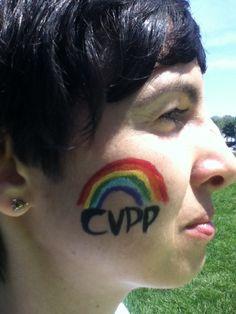 Chicago Veggie Pride Parade logo w/ rainbow