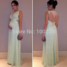 Find More Vestidos de Baile de Estudantes Information about feitos de uma  piso da linha  comprimento trem tribunal mangas colher com apliques chiffon longo vestidos de baile 2014 novo design,High Quality Vestidos de Baile de Estudantes from Rose Wedding Dress Co., Ltd on Aliexpress.com
