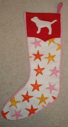 Victoria Secret Christmas Stocking Red Doggie Pink Victorias RARE   eBay