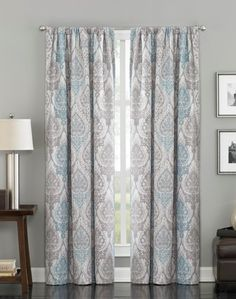 House Interior With Grey Walls And Modern Damask Curtains : Stunning And Elegant Damask Curtains
