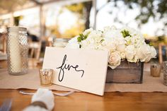 handpainted table numbers | Honey Heart Photography #wedding