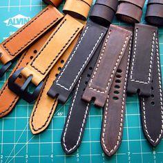 Black stitching, black edge coat, black straps... It must be Black Wednesday www.vintagerstraps.com #vintagerstraps #paneraistraps #paneraicentral #handmade #madeintheusa #watchstraps #panerai