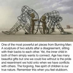"""It demonstrates a conflict between a man and a woman as well as the outer and inner expression of human nature. Their inner selves are executed in the form of transparent children, who are holding out their hands through the grating. As it's getting dark (night falls) the children start to shine. This shining is a symbol of purity and sincerity that brings people together and gives a chance of making up when the dark time arrives."" —#AlexanderMilov (artist) #LOVE"