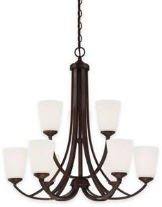 Minka Lavery Overland Park 9-Light Chandelier in Vintage Bronze with White Etched Glass Shade