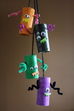 monster mobile toilet roll craft halloween projects for toddlershalloween