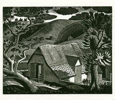 Eric Ravilious woodcut cottage