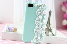 White Lace Decorated Hard Iphone 4/4s Case, Iphone 5 Cover, Mint Green, Pink, Purple, Blue, Ivory, Trending Accessories, Friendship Gifts