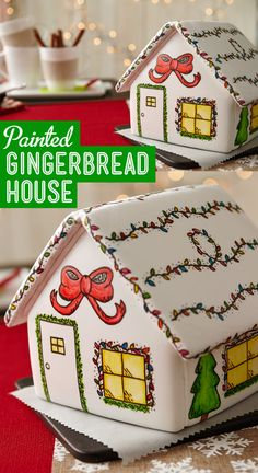 Cover Gingerbread house panels in thinned royal icing and paint with icing color and food writers!