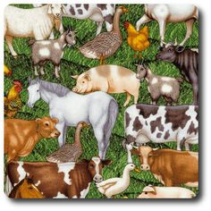 Cream of the Crop Farm Animals in the Grass Fabric Fat Quarter Crop Farming, Novelty Fabric, Fat Quarters, Farm Animals, Dog Food Recipes, Grass, Cow, Whimsical, Moose Art