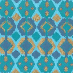 Plaids & Weaves - Diamond Ikat in Turquoise & Gold