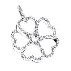 14K Multi Heart Diamond Pendant for Women Flower Design 0.35ct