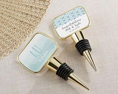These personalized Gold Bottle Stoppers come with your choice of two pretty Elements themed stickers - Marble and Geometric Heart. You can print them with your names, monogram, and wedding date to make a bottle stopper wedding favor worth giving. Beach Wedding Favors, Unique Wedding Favors, Bridal Shower Favors, Wedding Ideas, Party Favors, Inexpensive Wedding Favors, Bridal Showers, Wedding Bells, Wedding Ceremony