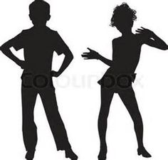Dancing silhouette children, vector