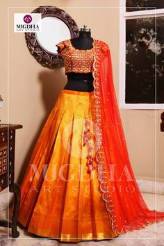 Kanchi Pattu Lehenga with Creative HandMade Design from Mugdha Art Studio.Product code : LHG Order with us 9010906544 (whatsapp)For Call: 8899840840 (IVR) 24 March 2017 (Top Model Creative Studio) Lehenga Saree Design, Half Saree Lehenga, Lehenga Gown, Lehnga Dress, Indian Lehenga, Indian Gowns, Lehenga Designs, Bridal Lehenga, Indian Wear