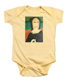 Purchase a Patrick Francis Soft Yellow Designer Baby Onesie featuring the image of Mona Lisa 2014 - After Leonardo Da Vinci by Patrick Francis.  Available in sizes S - XL.  Each onesie is printed on-demand, ships within 1 - 2 business days, and comes with a 30-day money-back guarantee.